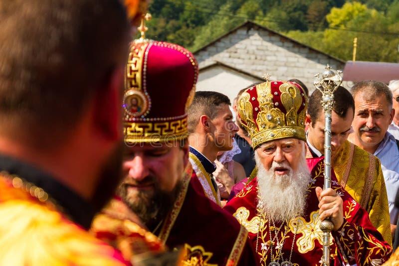 La visita del patriarca de la iglesia ortodoxa ucraniana Kiev fotografía de archivo