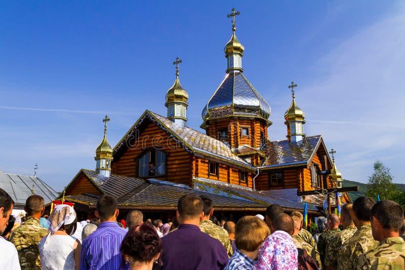La visita del patriarca della chiesa ortodossa ucraina Kiev fotografia stock libera da diritti