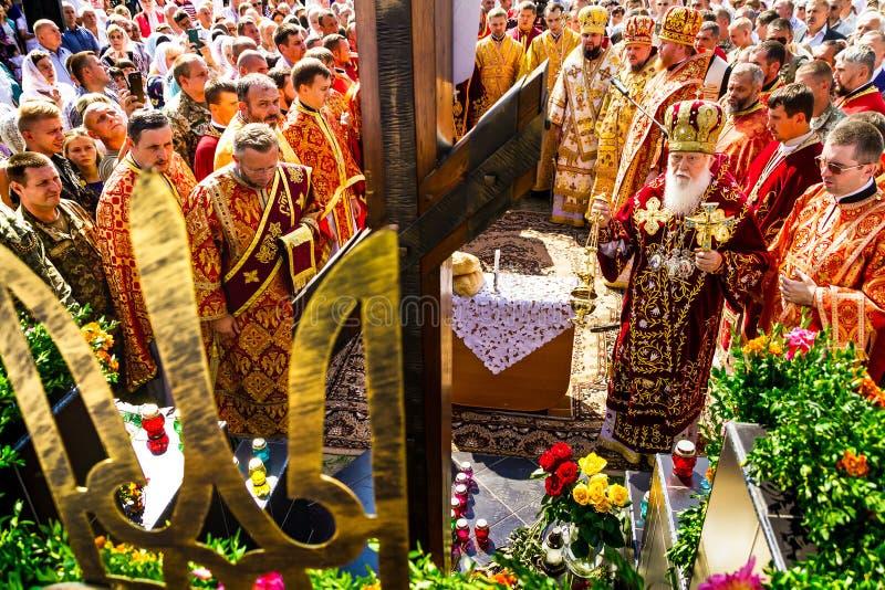 La visita del patriarca della chiesa ortodossa ucraina Kiev immagine stock libera da diritti