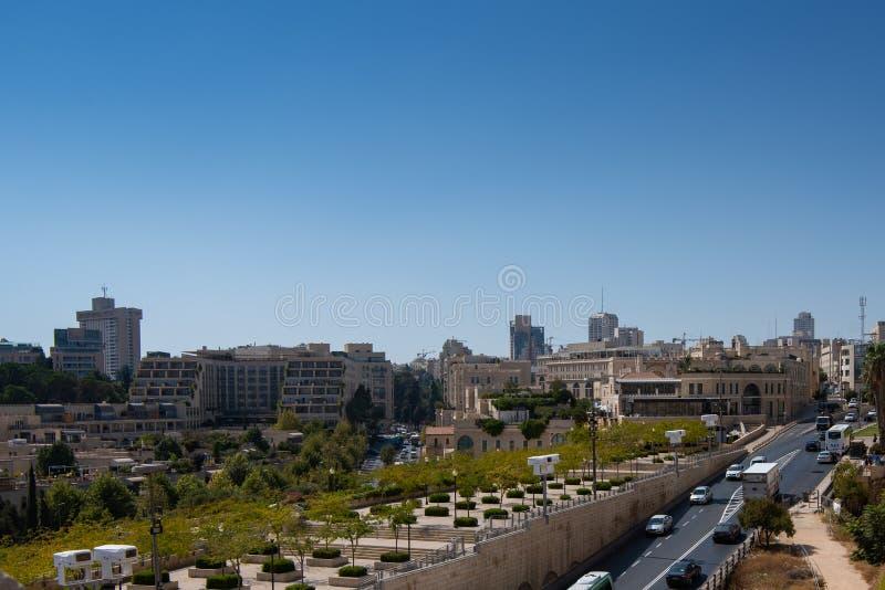 La vista aérea de Jerusalén tiró de la puerta de Jaffa fotografía de archivo