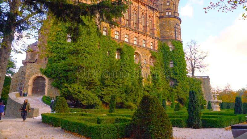 La vista aérea panorámica del castillo famoso y majestuoso de Polonia 2019 rodeó por la vegetación erótica - Bilder imagen de archivo
