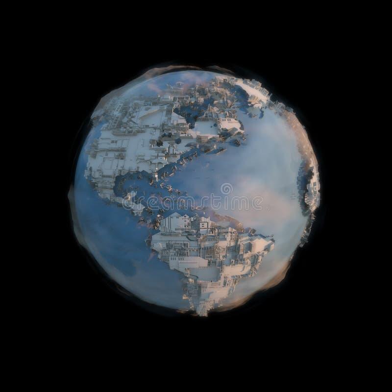 La vista aerea 3d della megalopoli rende l'immagine nello spazio fotografie stock
