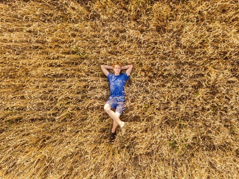 La vista aerea del fuco, il ragazzo si trova sulla sua indietro in un campo di grano immagine stock