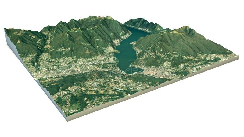 La vista aerea del lago Como e la zona circostante tracciano in 3d illustrazione di stock