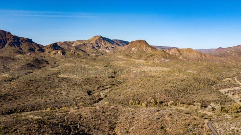 La vista aerea del parco regionale del ranch dell'incrocio del dente cilindrico vicino scava l'insenatura, Arizona fotografia stock libera da diritti