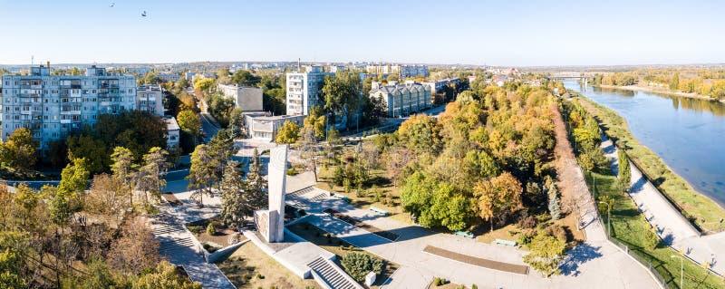 La vista aerea della piegatrice di Bendery sul fiume di Nistro, dentro scappa via la Repubblica moldava la Transnistria di Pridne immagine stock libera da diritti