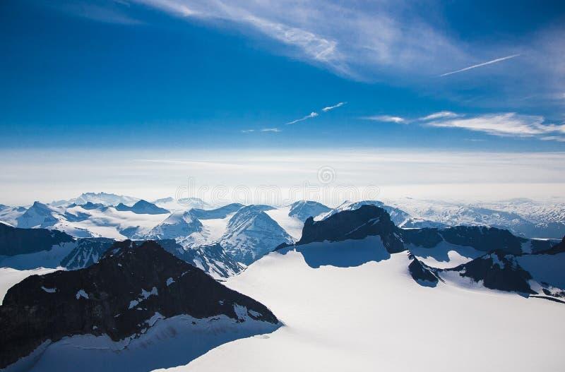 La vista dall'più alto picco in Norvegia fotografia stock libera da diritti