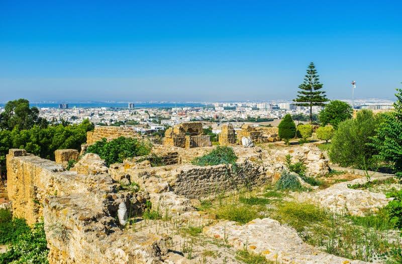 La vista dalla collina di Byrsa, Cartagine, Tunisia fotografia stock