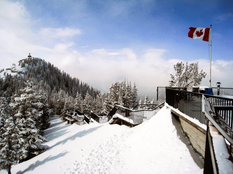 La vista dalla piattaforma della gondola di Banff con neve fotografia stock libera da diritti