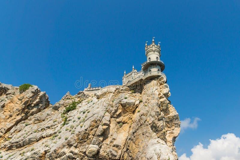 La vista dalla superficie del mare sui 40 metri Avrorinoj la roccia di capo AI-Todor con il monumento architettonico immagine stock libera da diritti