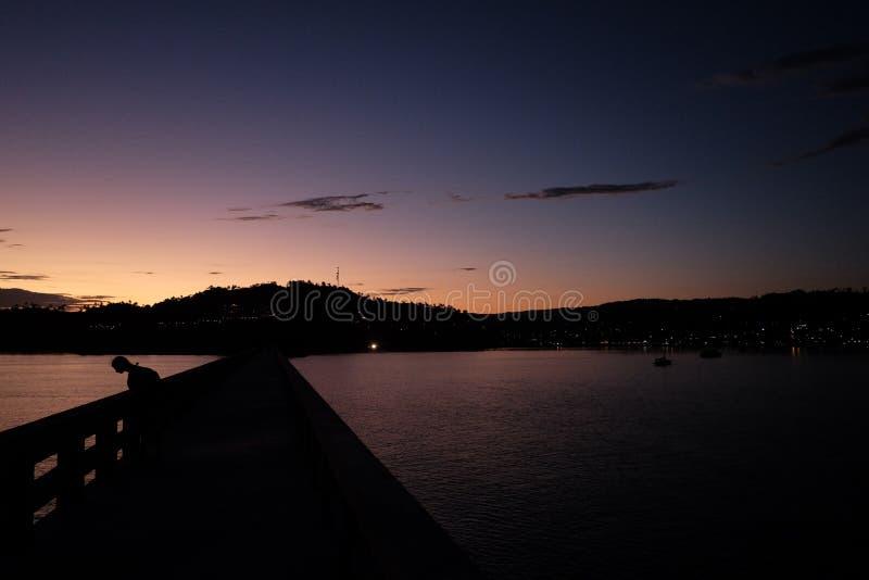 La vista de la bahía con el puente a la isla y una palma en el primero plano durante la puesta del sol o la salida del sol imágenes de archivo libres de regalías