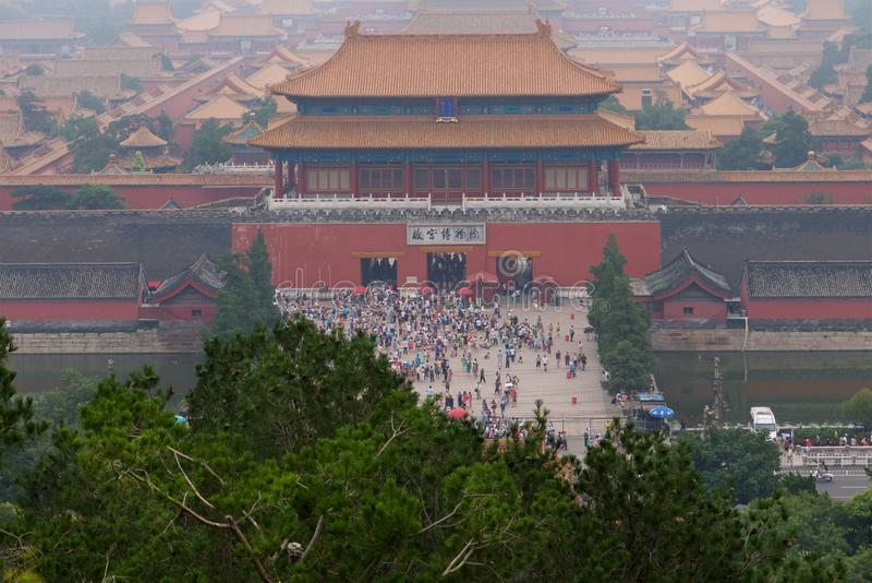 La vista de la ciudad Prohibida en la puerta de divino pudo, imágenes de archivo libres de regalías