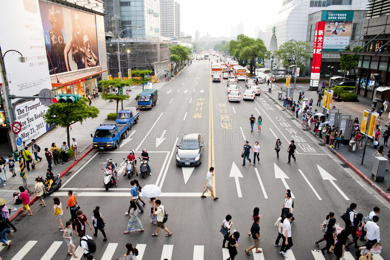 La vista de la opinión de la calle de Taipei fotografía de archivo libre de regalías