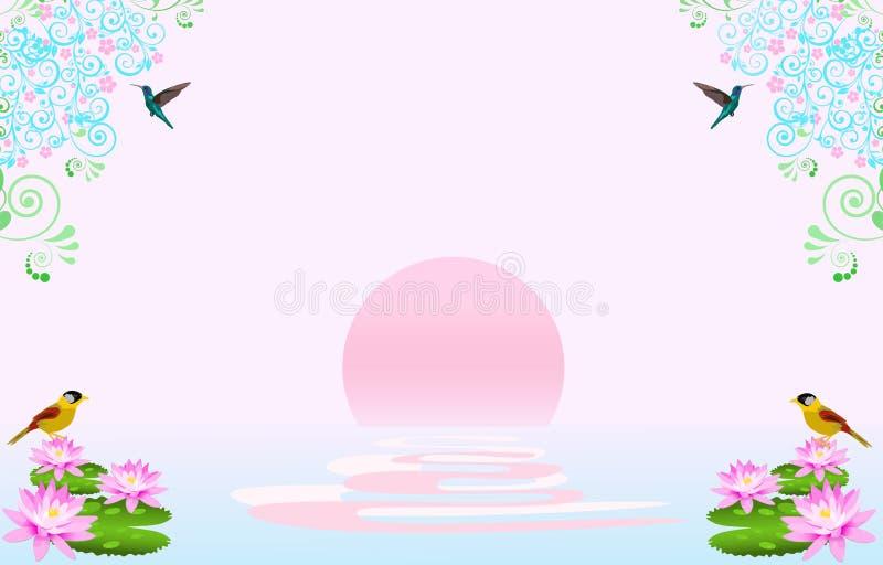 La vista de la puesta del sol tiene dos pájaros amarillos en loto rosado y dos colibríes en las flores superiores stock de ilustración