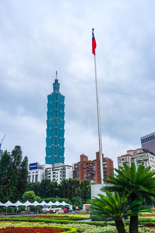 La vista de la Taipei 101 que construye en la ciudad de Taipei, Taiwán imágenes de archivo libres de regalías