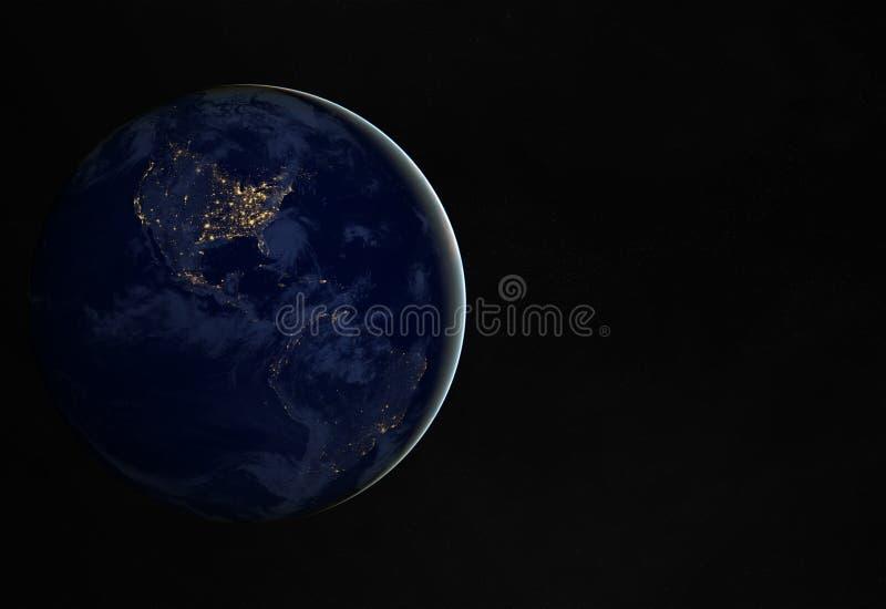 La vista de la tierra del planeta en la noche con las luces de las ciudades en América 3D que rendía elementos de esta imagen sum ilustración del vector