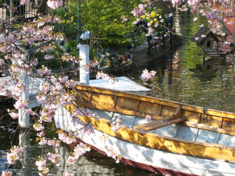 La vista de un barco de madera en Copenhague en Dinamarca rodeó maravillosamente por un mar de las flores del ‹del †del ‹del †imagen de archivo libre de regalías
