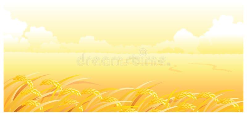 La vista del campo de trigo ilustración del vector