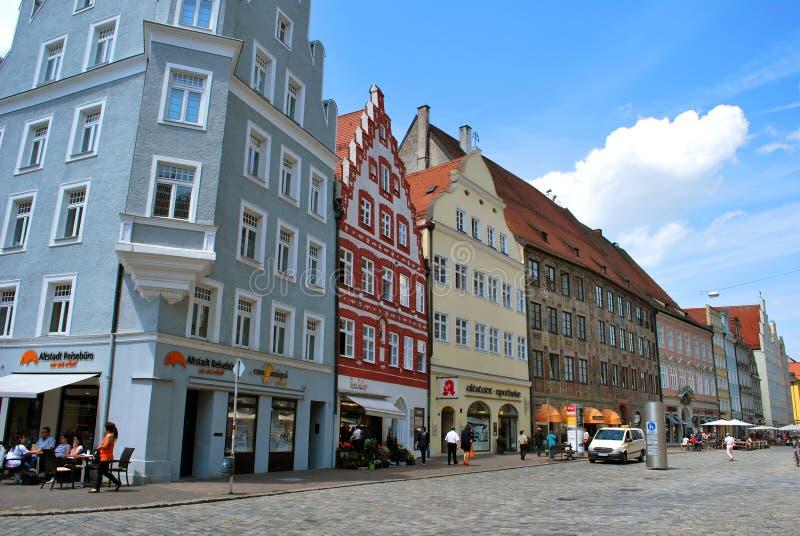 La vista del centro histórico de Landshut imagen de archivo libre de regalías