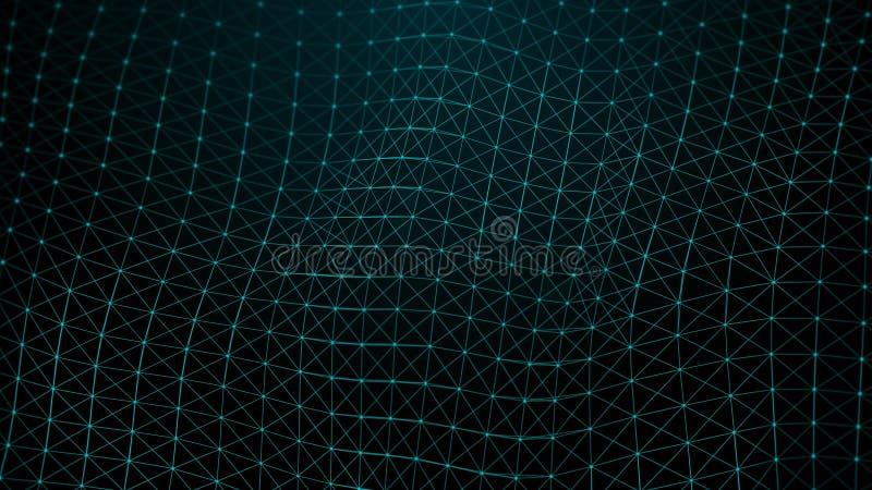 La vista del concetto dei neuroni è una rete che è sparata nelle reti neurali Uniformemente circondando in 4K con la profondità d illustrazione di stock