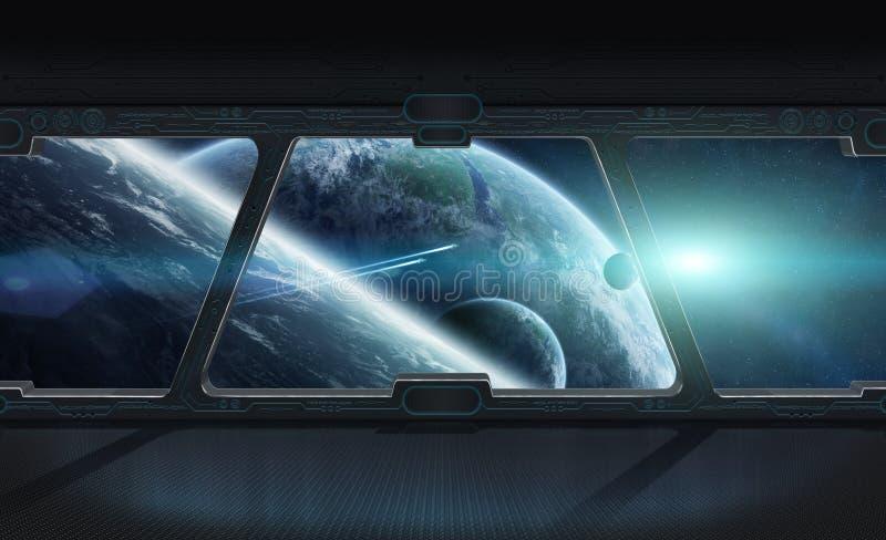 La vista del espacio exterior de la ventana de una estación espacial 3D rinde libre illustration