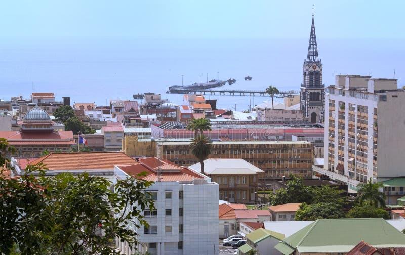 La vista del Fort-de-France, isla de Martinica, territorio de ultramar francés imágenes de archivo libres de regalías