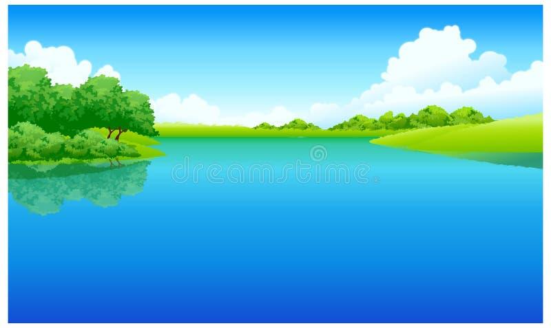 La vista del lago stock de ilustración