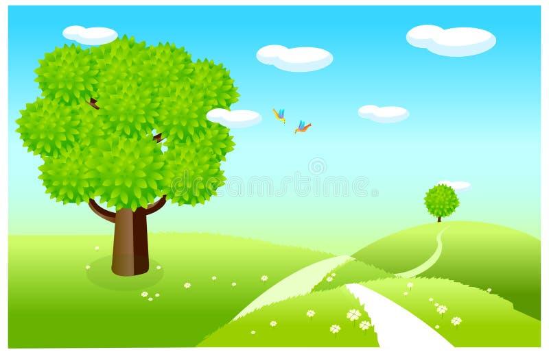 La vista del paisaje de la primavera ilustración del vector