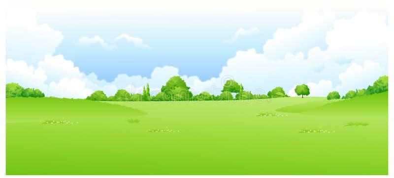 La vista del paisaje verde ilustración del vector