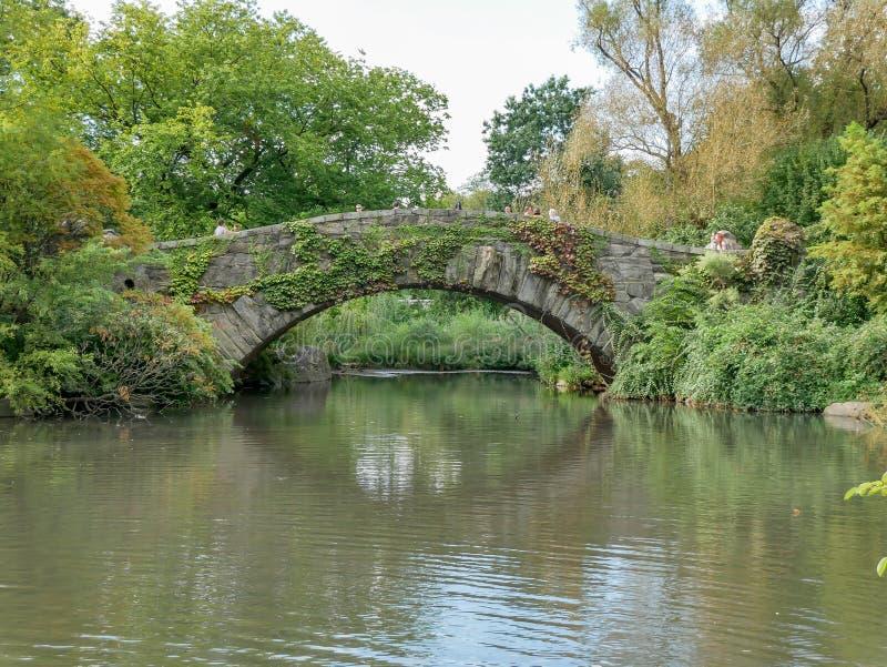 La vista del ponte di Gapstow in Central Park fotografia stock