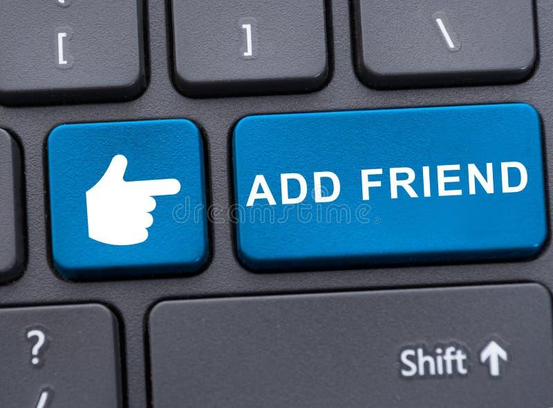 La vista del primo piano di aggiunge il bottone dell'amico fotografia stock libera da diritti