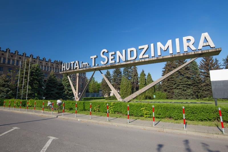 La vista del Sendzimir, acería de s del Nowa Huta en Polonia, puede 2017 imágenes de archivo libres de regalías