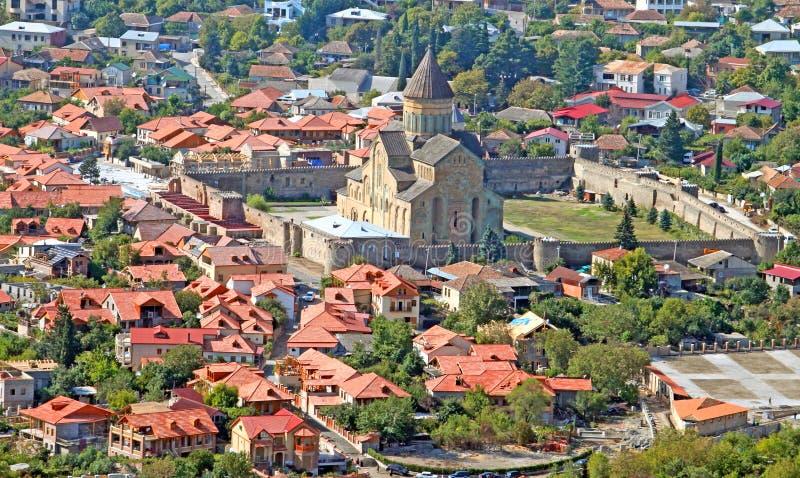 La vista della cattedrale di Svetitskhoveli in Mtskheta immagine stock libera da diritti