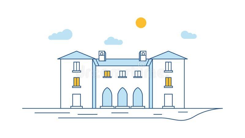 La vista della costruzione della città assottiglia la linea Esterno lineare della casa Scena della via della città Illustrazione  royalty illustrazione gratis