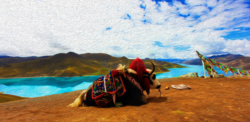 La vista della pittura ad olio di Digital dei yak e del lago Yamdrok, è uno di tre i più grandi laghi sacri nel Tibet, un lago d' immagine stock libera da diritti