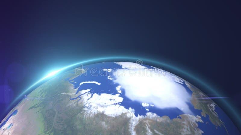 La vista della stella del mondo o il globo 3D da spazio nel giacimento di stella mostra la composizione di questa immagine decora illustrazione vettoriale