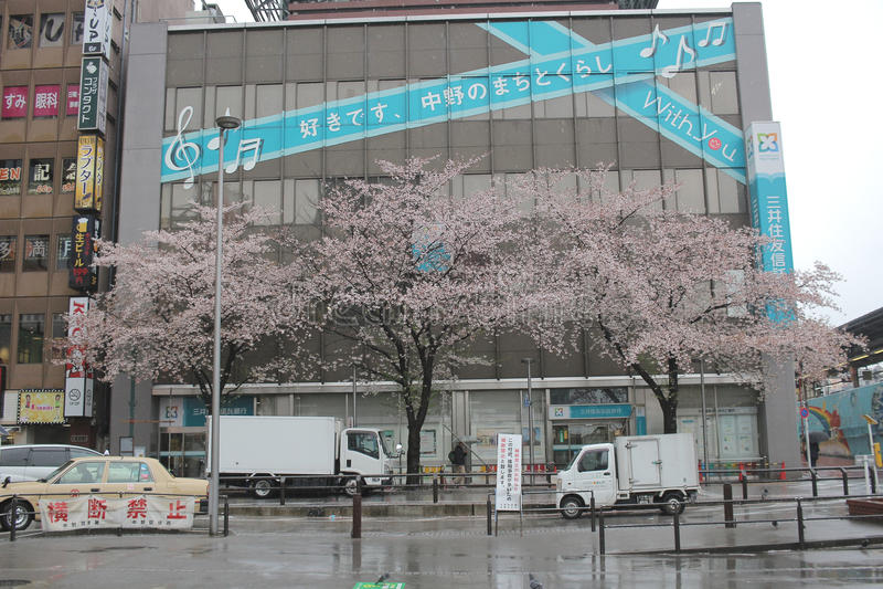 La vista della via a Nakano fotografie stock