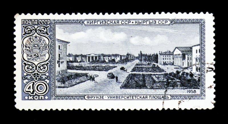 La vista di BiÅ¡kek, precedentemente Pishpek e Frunze, è la capitale e la più grande città della Repubblica Kirghiza o del Kirghi immagini stock libere da diritti