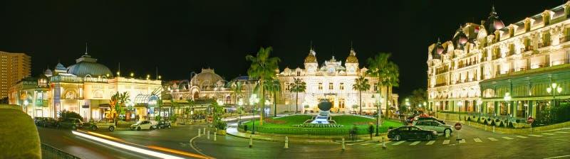 La vista di notte del quadrato del casinò di Monte Carlo fotografia stock