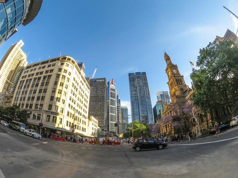 La vista di paesaggio urbano del municipio di Sydney, situata su George Street, l'immagine dal grandangolo del fisheye fotografia stock