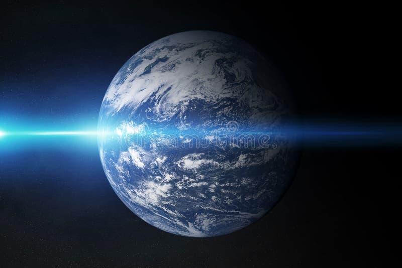 La vista di pianeta Terra blu l'Oceano Atlantico nello spazio con la sua atmosfera 3D che rende gli elementi di questa immagine h illustrazione vettoriale