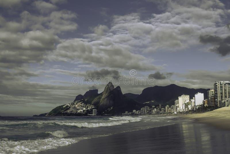 La vista escénica de Ipanema y Leblon varan en Rio de Janeiro imágenes de archivo libres de regalías