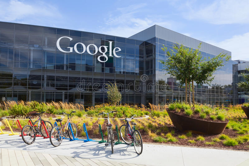 La vista exterior de Google establece jefatura del edificio imágenes de archivo libres de regalías