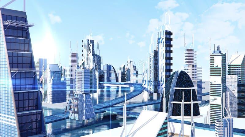 La vista futuristica della via della città di fantascienza, 3d digitalmente ha reso l'illustrazione illustrazione di stock