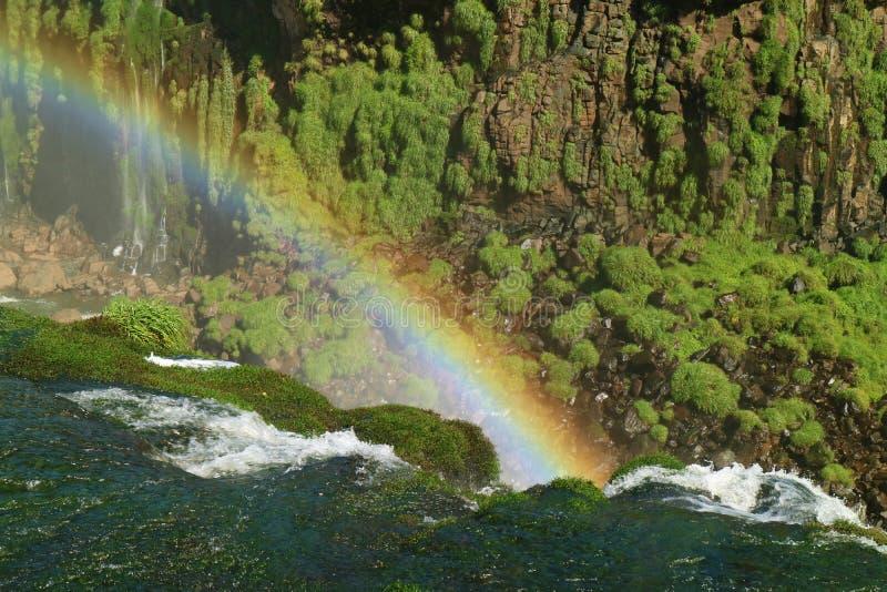La vista impresionante de un arco iris enorme sobre las cataratas del Iguazú, Foz hace Iguacu, el Brasil, Suramérica fotografía de archivo libre de regalías