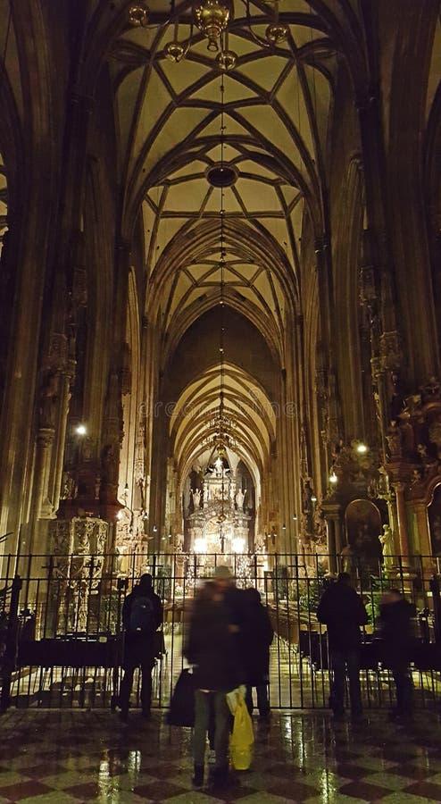 La vista interior de la catedral y de su torre de St Stephen en Viena se dedica a St Stephen's foto de archivo libre de regalías