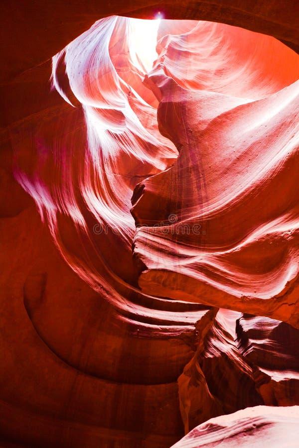 La vista interna del canyon superiore dell'antilope in america fotografia stock libera da diritti