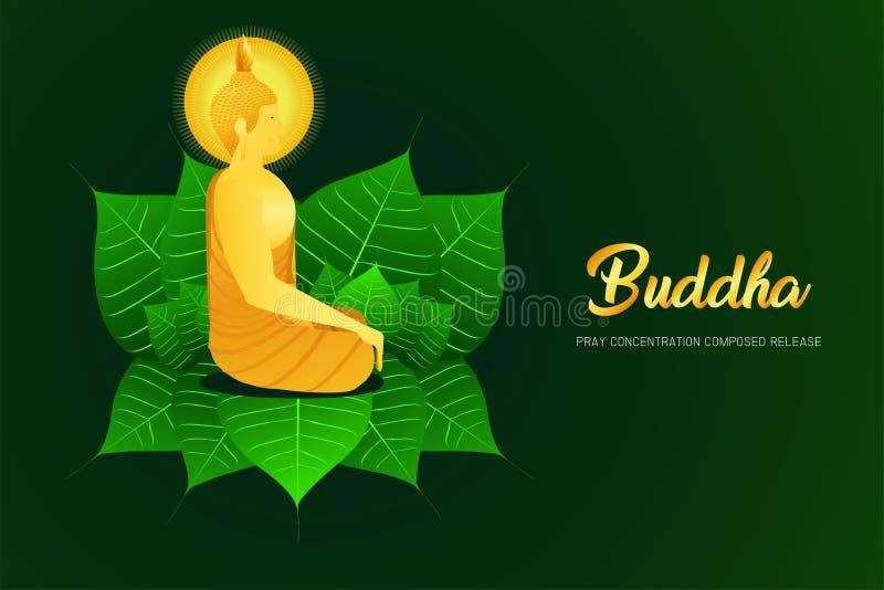 La vista lateral de Buda del phra del monje que se sienta en la hoja del pho para ruega el ejemplo compuesto concentración de la  libre illustration