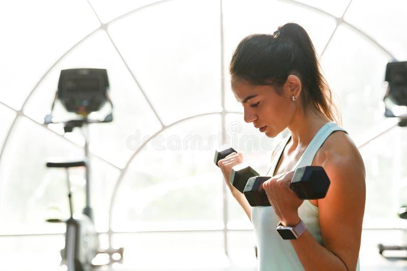 La vista lateral de la calma se divierte a la mujer que hace ejercicio con pesas de gimnasia fotos de archivo libres de regalías