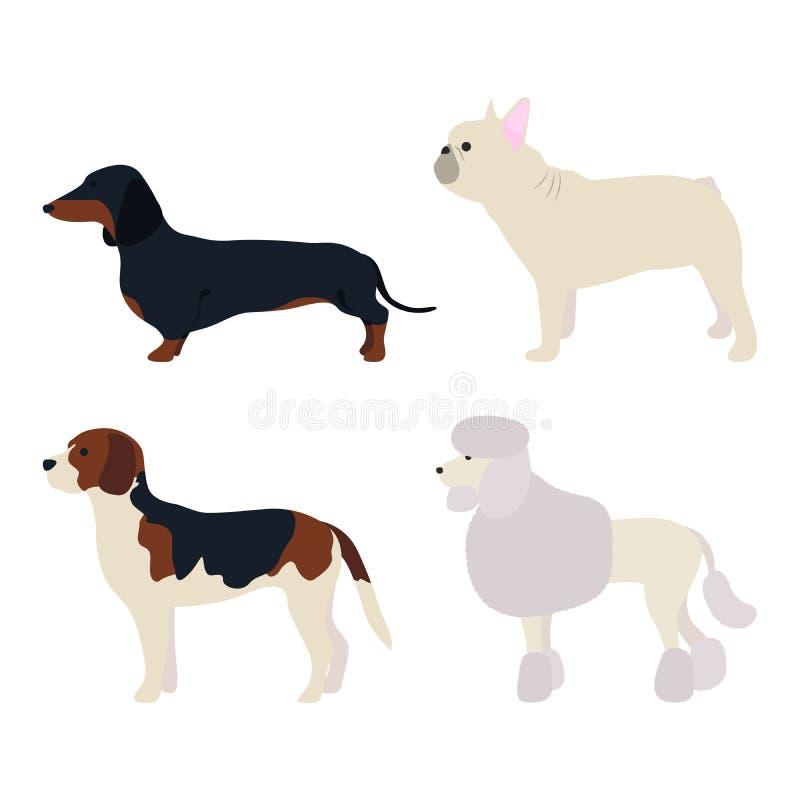 La vista lateral del perro fijó 2 ilustración del vector